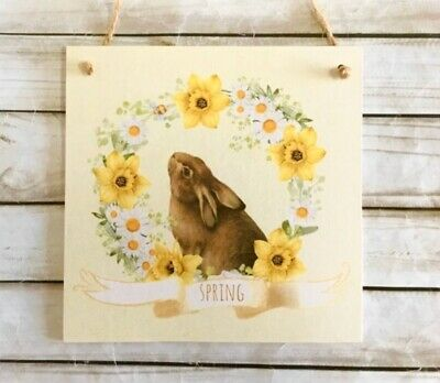 Wooden Hanging Plaque-Easter Bunny Spring Sign Daffodils daisies -Easter Decor
