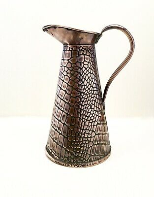 JOSEPH SANKEY ARTS & CRAFTS JUG SIZE 4 BRASS LIZARD PATTERN 1890's - 1910