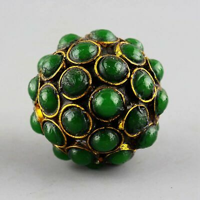 Collect China Old Bronze Inlay Jadeite Hand-Carved Delicate Noble Ball Statue
