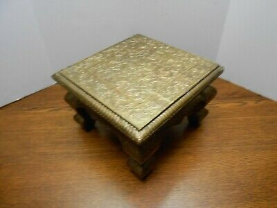 Antique Vintage Brass & Wood Foot Stool Ornate VGC