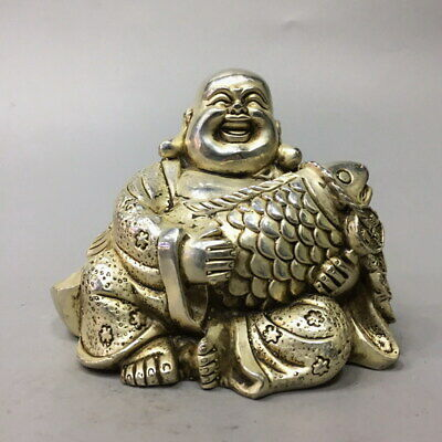 Collectable Miao Silver Carved Buddha Holding Fish Auspicious Ancient Statue