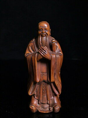 Collectable Decorative Boxwood Carved Confucius Thinker Lucky Exquisite Statue