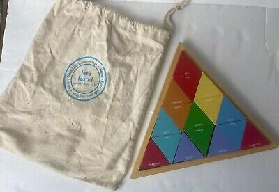 Pottery Barn Kids Learning Toy Wooden Triangle Puzzle with Canvas Bag Ages 2+