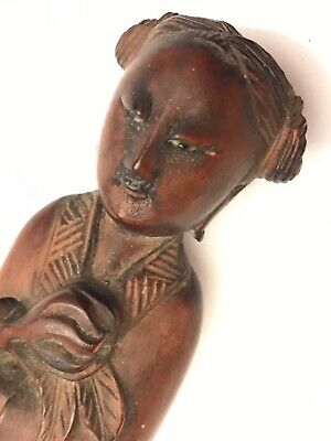 Antique CHINESE Finely Carved Wood COURTESAN FIGURE Peach Longevity GLASS EYES
