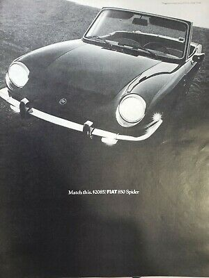 Lot of 3 Vintage 1960 Fiat 850 Spider Ads 2 Gallons. All Week