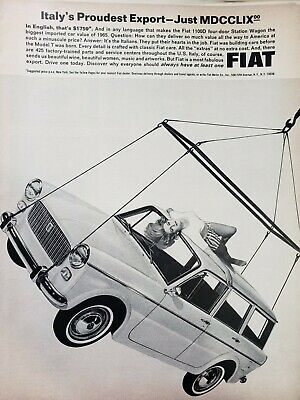 Lot of 3 Vintage 1965 Fiat Sport Ads Italy's Proudest Export