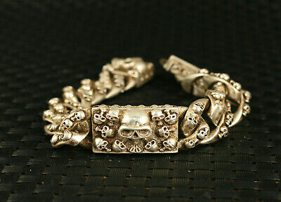 fashion Chinese old tibet silver miao hand carved skull head cool gift bracelet