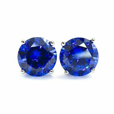 2 Ct. Blue Diamond Round Earrings Studs Real Solid 14K White Gold Screw Back