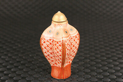 chinese old porcelain hand painting fish snuff bottle fengshui