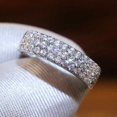Gorgeous Women 925 Silver Rings Round Cut White Sapphire Wedding Ring Sz 6-10