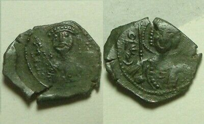 Rare genuine ancient BYZANTINE coin TETARTERON Manuel I Comnenus cross/St George