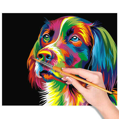 DIY Scenery Paint By Number Kit Colourful Dog Acrylic Oil Painting Without Frame