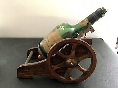 Vintage Gun Carriage with Cognac Bottle Good condition - Sell for Charity