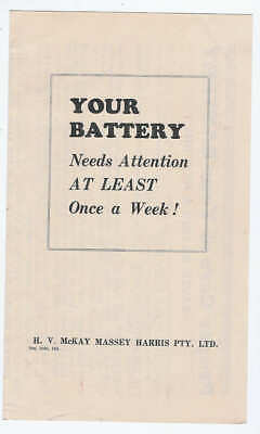 Original 1949 HV McKay Sunshine Leaflet - Your Battery Needs Attention
