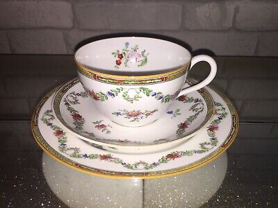 Stunning Rare Antique Hand Painted Spode Breakfast Cup Saucer And Plate Trio.