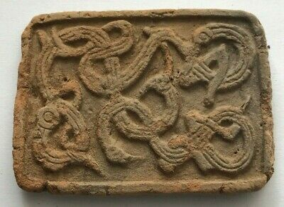 Viking Nordic Decorated Votive Pottery Slab 8 - 10th Century AD - F206