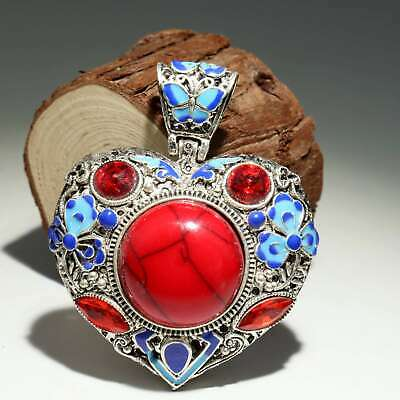 Collectable Old Cloisonne Inlay Red Turquoise Hand Carve Butterfly Decor Pendant