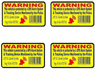 4 GPS Tracking Device Security Window Stickers Self Adhesive FRONT Inside Glass