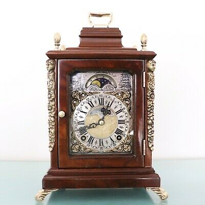 WARMINK WUBA Mantel Clock WALNUT Vintage Moonphase DOUBLE Bell Chime HIGH GLOSS!