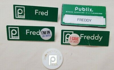 Lot of 4 PUBLIX Green Name Tags & 1 White Chip some damage