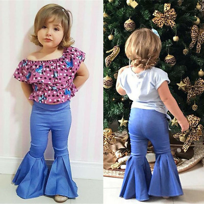 Kids Summer Pants Girls Stretchy Denim High Waist Fashion Bell Bottoms Trouser