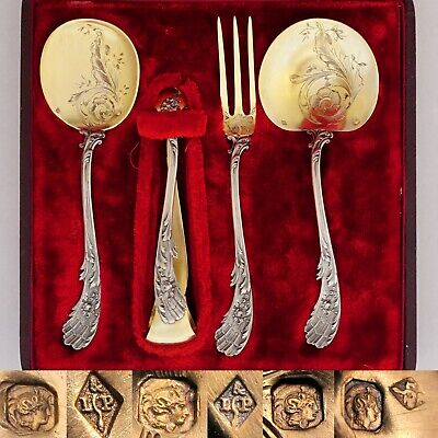 Antique French Sterling Silver Dessert Hors d'Oeuvre Set, Rococo Handles