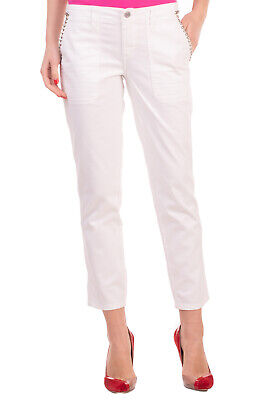 RRP€105 GUESS Gabardine Trousers Size 29 Stretch Studded Logo Zip Fly Belt Loops