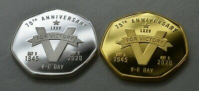 Pair Victory in Europe VE DAY 75th Anniversary Commemoratives. Churchil/Bulldog