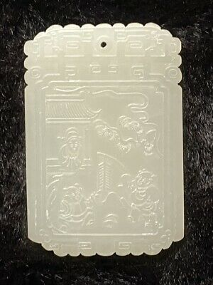 Old Chinese Carved White Nephrite Jade Amulet