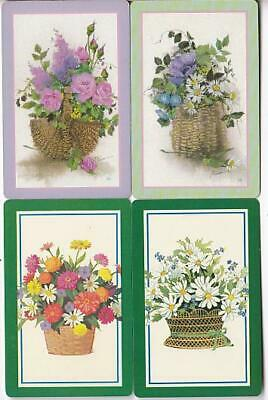 FLOWERS #V1h     4 Single Swap Playing Cards.