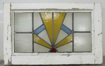 "OLD ENGLISH LEADED STAINED GLASS WINDOW Stunning Geometric Burst 22"" x 13.75"""