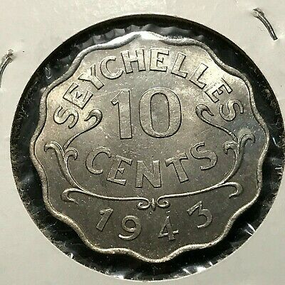 1943 Seychelles Ten Cents Brilliant Uncirculated