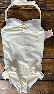 Juicy Couture Girls Halter Maillot Angel Swimsuit One Piece Sz 8 NWT