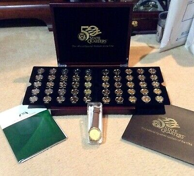 Boxed  Set Of 50 State Gold 24K Plated Usa Quarter  Dollar  Coins + Mint Watch