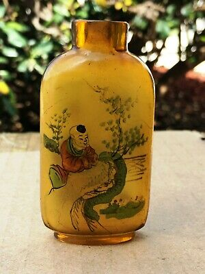 Antique 1899's Chinese Snuff Bottle Finely Painted Inside