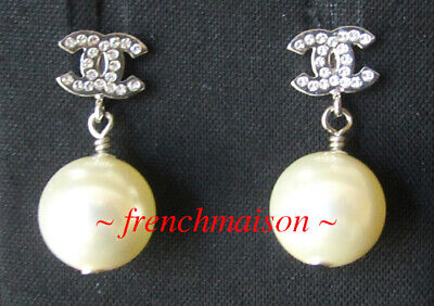 AUTHENTIC CHANEL CC Logo Silver Earrings Pearl Crystal Mini Dangle New 2020 $695
