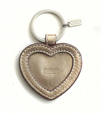 Vintage Coach Gold Leather Heart Photo Locket Keyring