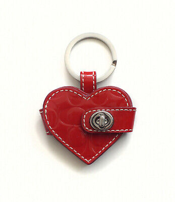Vintage Coach Red Patent Leather Photo Holder Keyring
