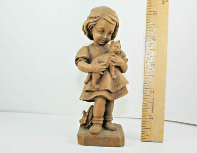 """Vintage Wooden Carved Victorian Looking Young Girl Holding a Cat Unique 5"""""""
