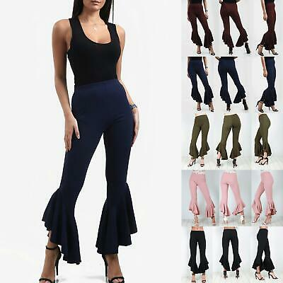 Ladies Frill Hem Flared Party Trousers Womens Summer Wear Crepe Pants 8-14