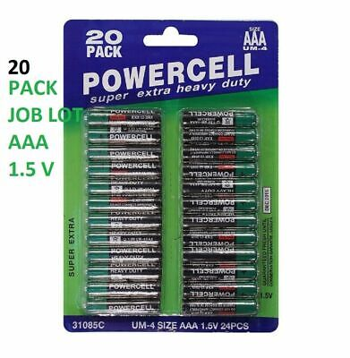 Powercell  20 Pack AAA VALUE PACK  Batteries Heavy Duty Remote TOYS WALL CLOCK