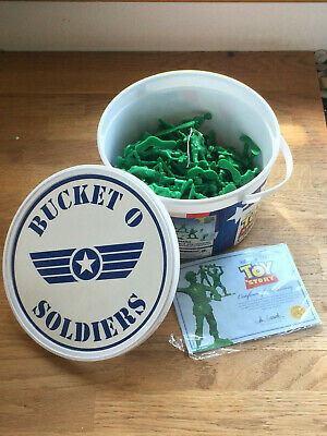 DISNEY PIXAR TOY STORY Bucket of Soldiers Green Army Men VERY GOOD CONDITION