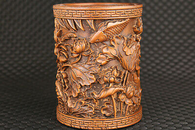 chinese boxwood hand caved fish statue brush pot/vase decoration collection