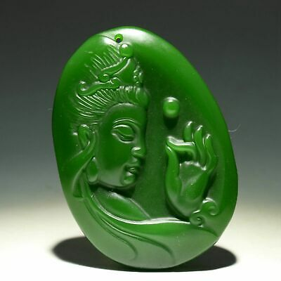 Collectable China Old Jade Hand-Carve Buddhism Kwan-Yin Moral Auspicious Pendant