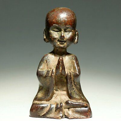 Collectable China Old Red Copper Hand Carve Little Monk Delicate Exorcism Statue