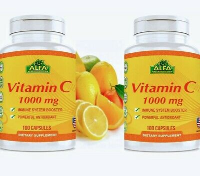 Vitamin C ALFA 1000 mg  Support the Immune System 100 Antioxidant 2 Bottles