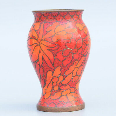 Collectable China Old Cloisonne Hand-Carved Bloomy Flower Delicate Noble Vase
