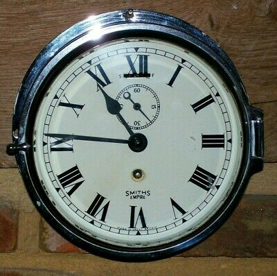 Smiths Empire Chrome Ships Clock Made In Great Britian With Key