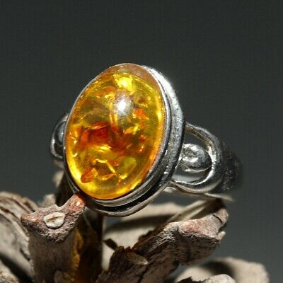 Collectable Handwork China Old Miao Silver Inlay Amber Carve Noble Decorate Ring