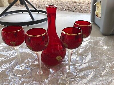 Vntg Bohemian MOSER Red Crystal Decanter Gold & 4 Wine Goblets - Circa 1930's